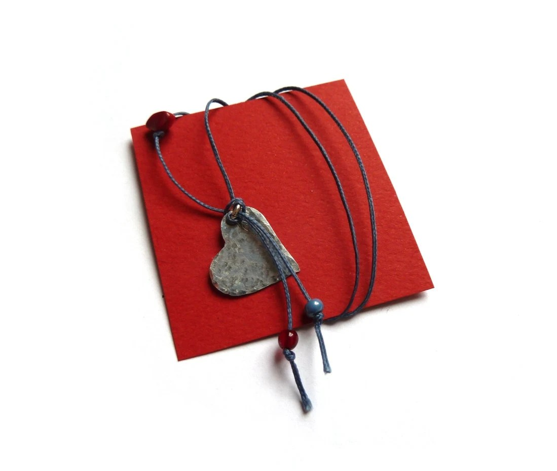 Valentine gift - heart necklace on a cotton thread with red bamboo coral and glass pearls - IndieLab
