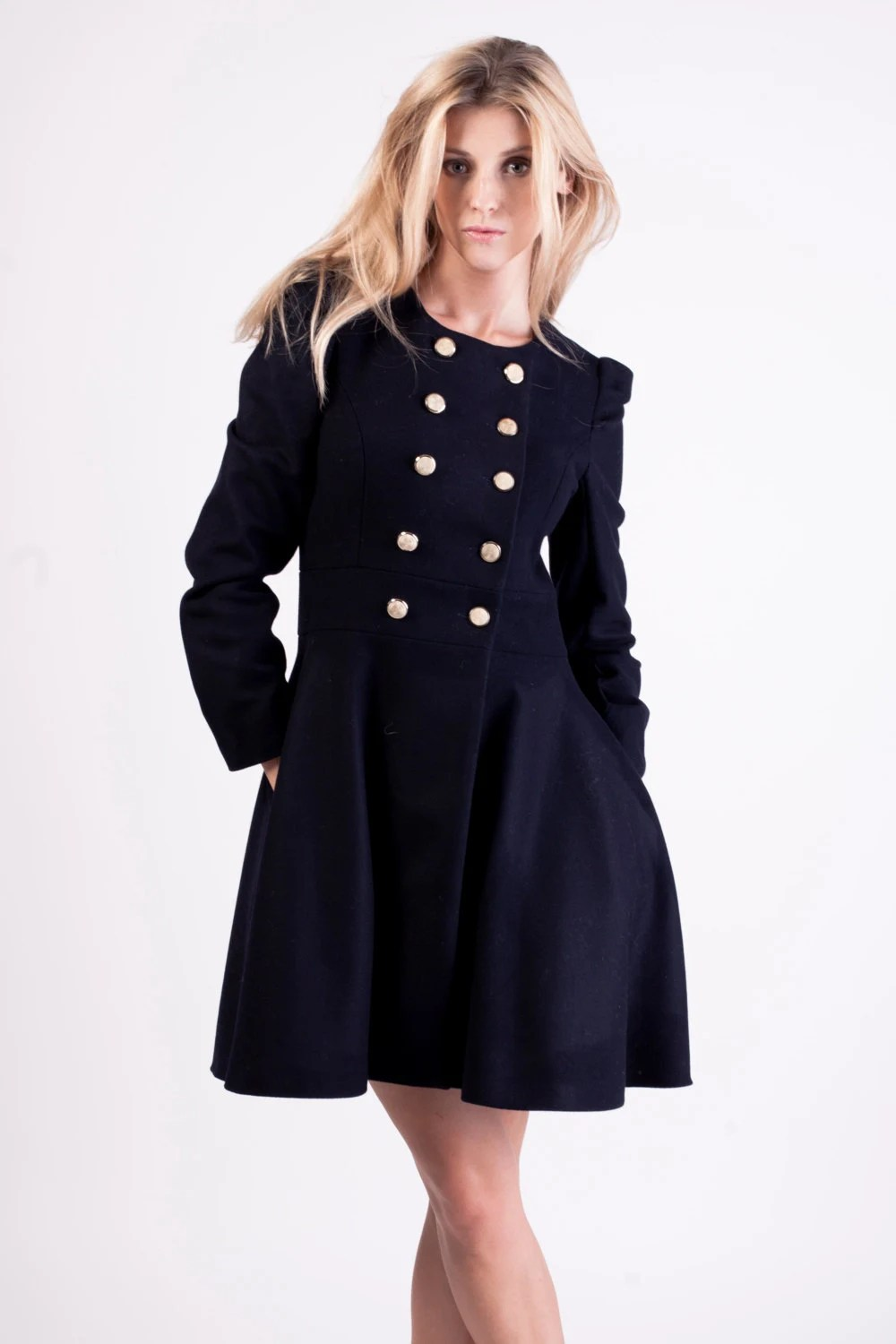 Navy blue coat&dress 2 in 1, with golden buttons. - DOROTHEboutique