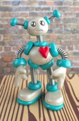 HerArtSheLoves Robot Teal Time by RobotsAreAwesome featured artist on Kater's Acres Blog
