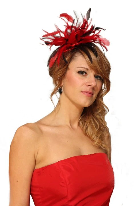 Red and Brown Satin Feather Fascinator Hat - wedding, ladies day - choose any colour feathers & satin - MaighreadStuart