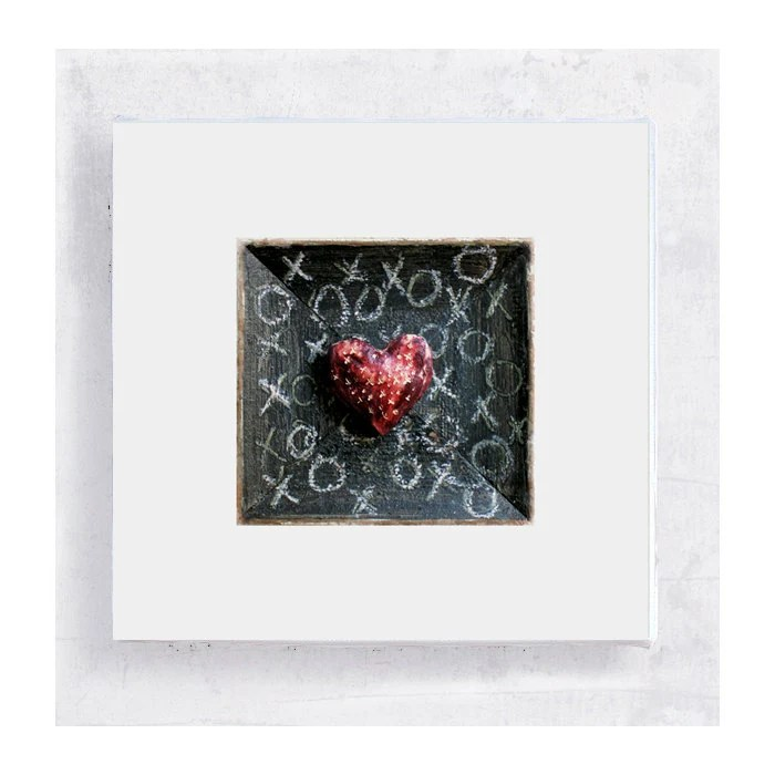XO Heart on Art Block - 5x5 Canvas Print on Wood Frame - Mad About You - Wall Art - Home Decor - PeyLu