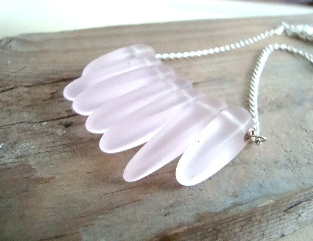 SALE Recycled Pink Glass Dagger Sterling Chain Necklace Spring Fashion - FuchsiaBloomStudio