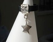 Handmade Black Rubber Sterling Silver Star Ring (Limited Edition) - meteor