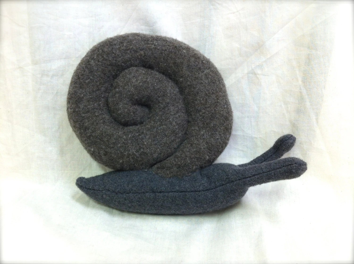Snail Shaped Decorative Cushion Throw Pillow made from recycled wool - GlindaBunny