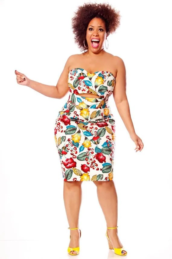 JIBRI Plus Size High Waist Pencil Skirt (Tropicana)