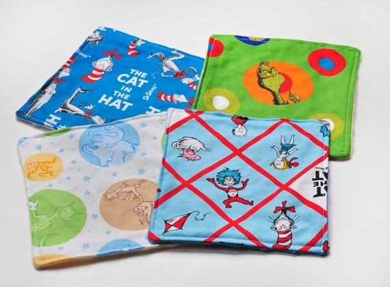 Baby Washcloths - Dr Seuss Cat in the Hat - Baby Shower Gift Idea - CreativeQuiltsAndEtc