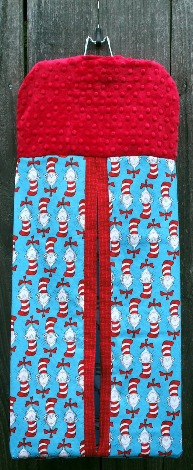 Diaper Stacker - Dr. Seuss Cotton with Red Dimple Minky Top Section With Personalization Included Upon Request - kreationsbykona
