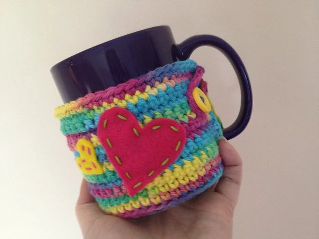 Crochet Coffee Tea Mug Cozy Cozie Cotton Rainbow Heart Crochet Valentines