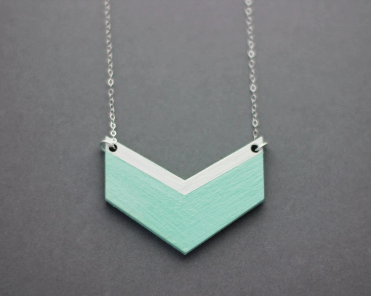 Small Wooden Chevron Necklace (Mint - White)  Modern Handmade Jewellery - FawnAndRose