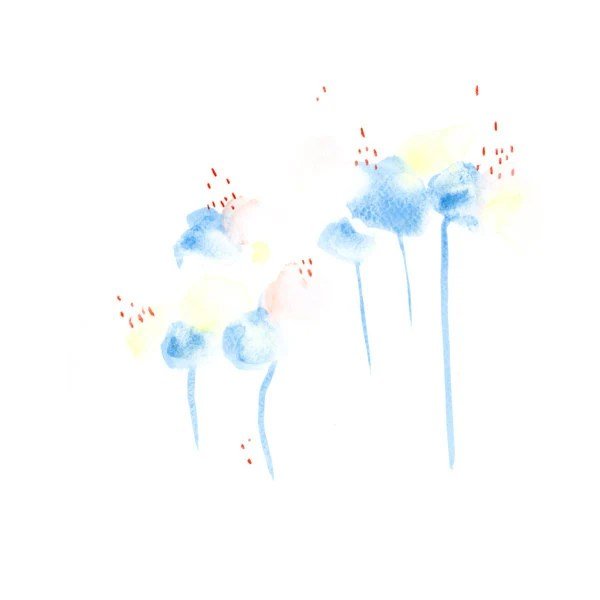 Sky Blue Flowers Original Watercolor Painting 10x10 Mothers peach pink day gift for her Abstract Art - DUEALBERI