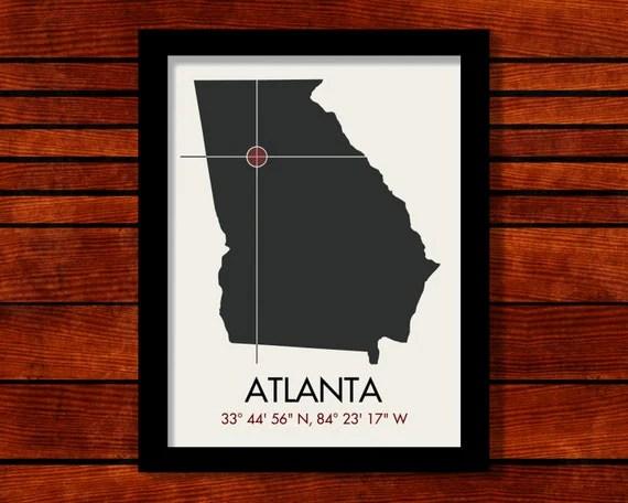 Atlanta Latitude Longitude Map Art City Print, 11 x 14