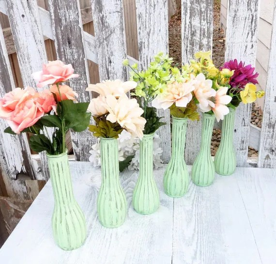 Mint Green, SHABBY CHIC Painted Glass Bud Vases, Set of 6