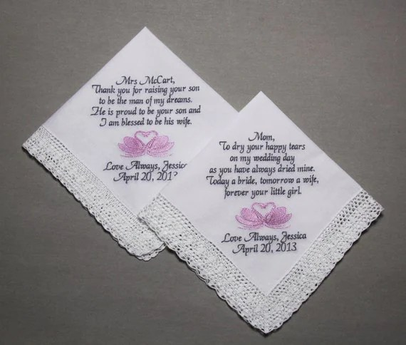 2pcs Lady Personalized Wedding Handkerchief Embroideried for Bride's Mom and  Mother in Law