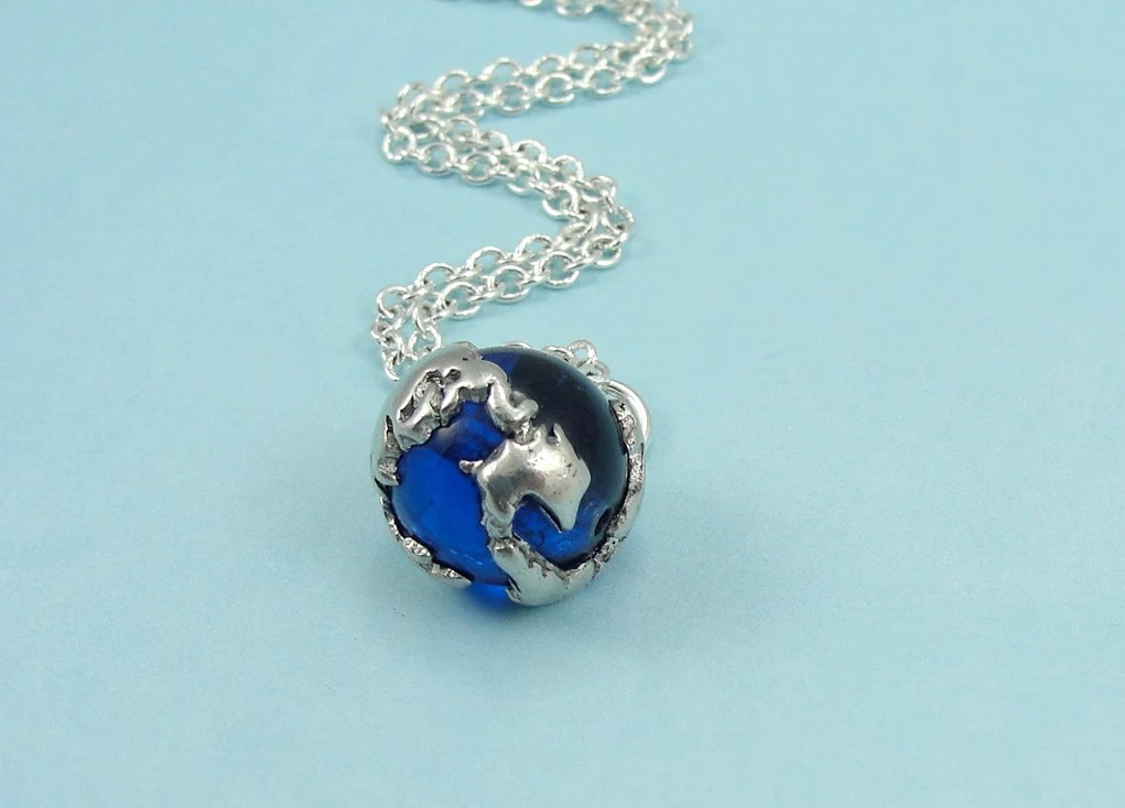 Earth Globe Necklace with Ocean Blue Glass Bead, Earth Globe Charm on a Silver Cable Chain - treasuredcharms