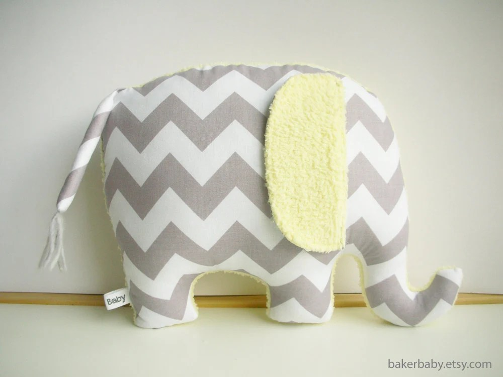 Elephant Pillow, Modern Nursery Decor, chevron elephant, gray and yellow - bakerbaby