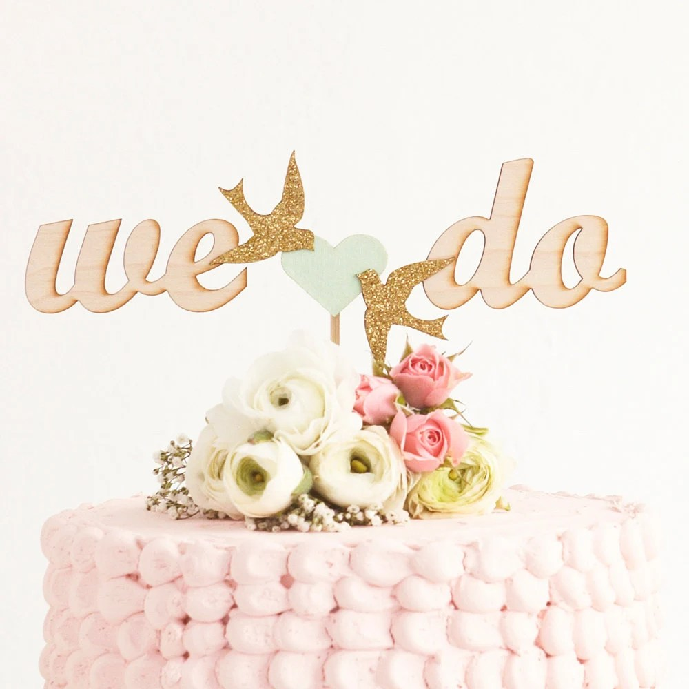 Wedding Cake Topper in Mint and Gold - betteroffwed