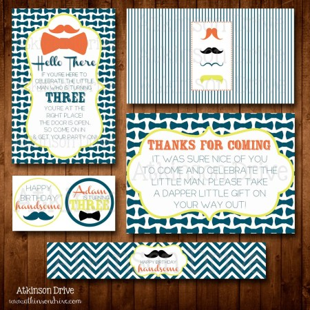 Printable Little Man Mustache/Pinstripes Birthday Party Pack