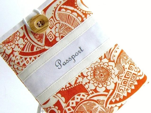 Passport Cover ,  Tangerine Fabric , Floral , Pocket Style - jackandbeedesigns