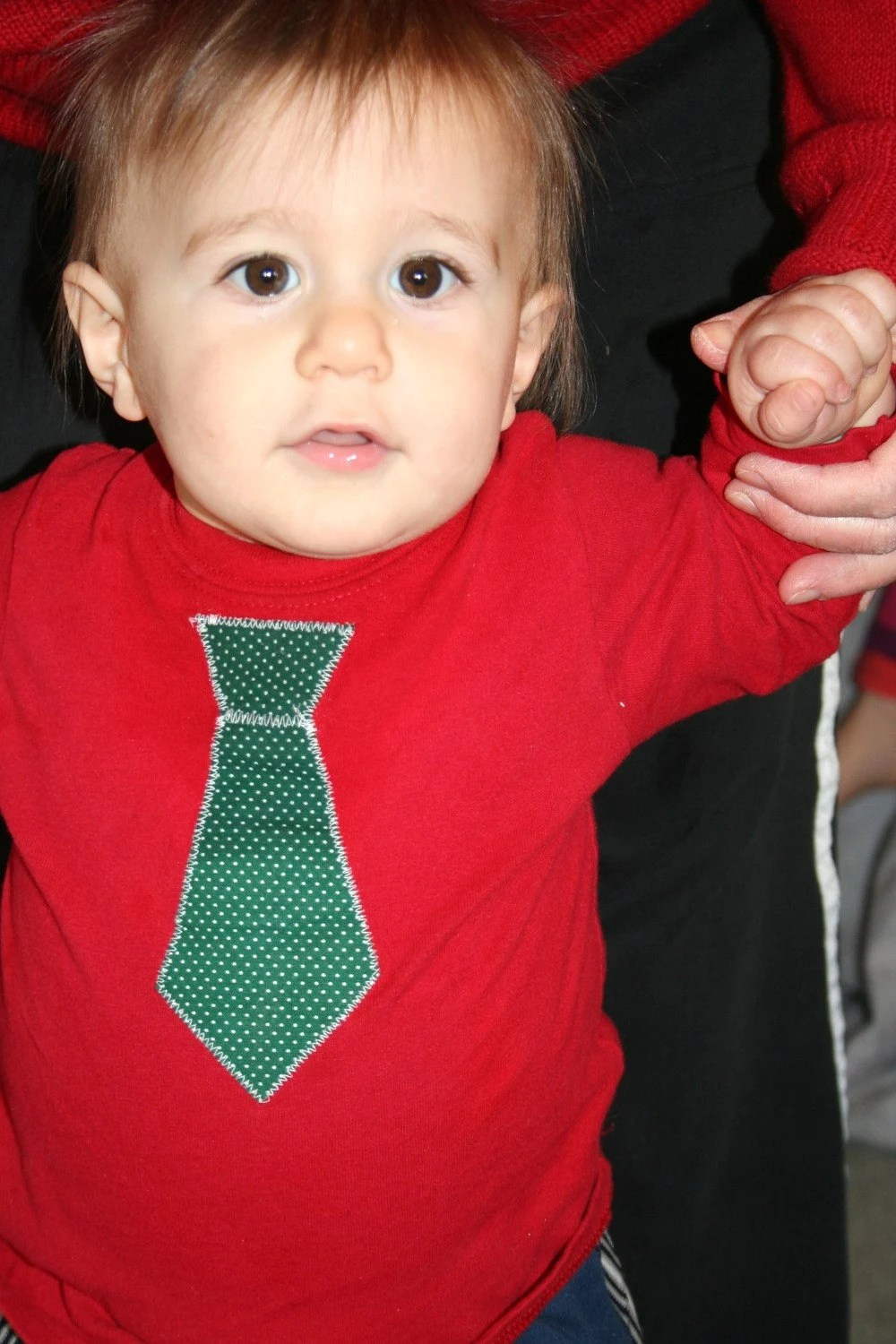 Red Long Sleeve Shirt with Green Polka Dot Tie 12 mos