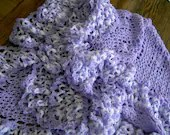 CROCHET BLANKET HANDMADE lavender lace style shawl with full lavender and white frill  Cuddle Blanket (nannycheryl original) 452