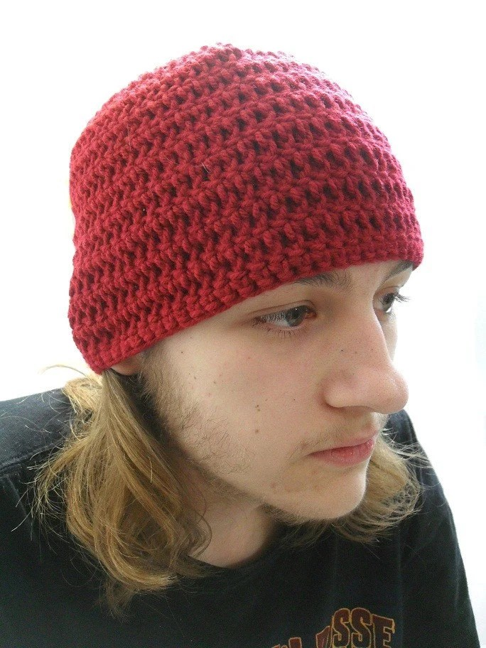 The Simple Man Beanie in Dark Red Medium - AddSomeStitches