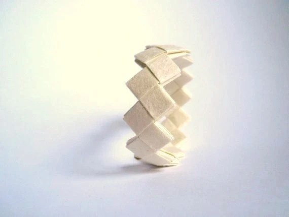 Paper jewelry -origami white bracelet- eco friendly