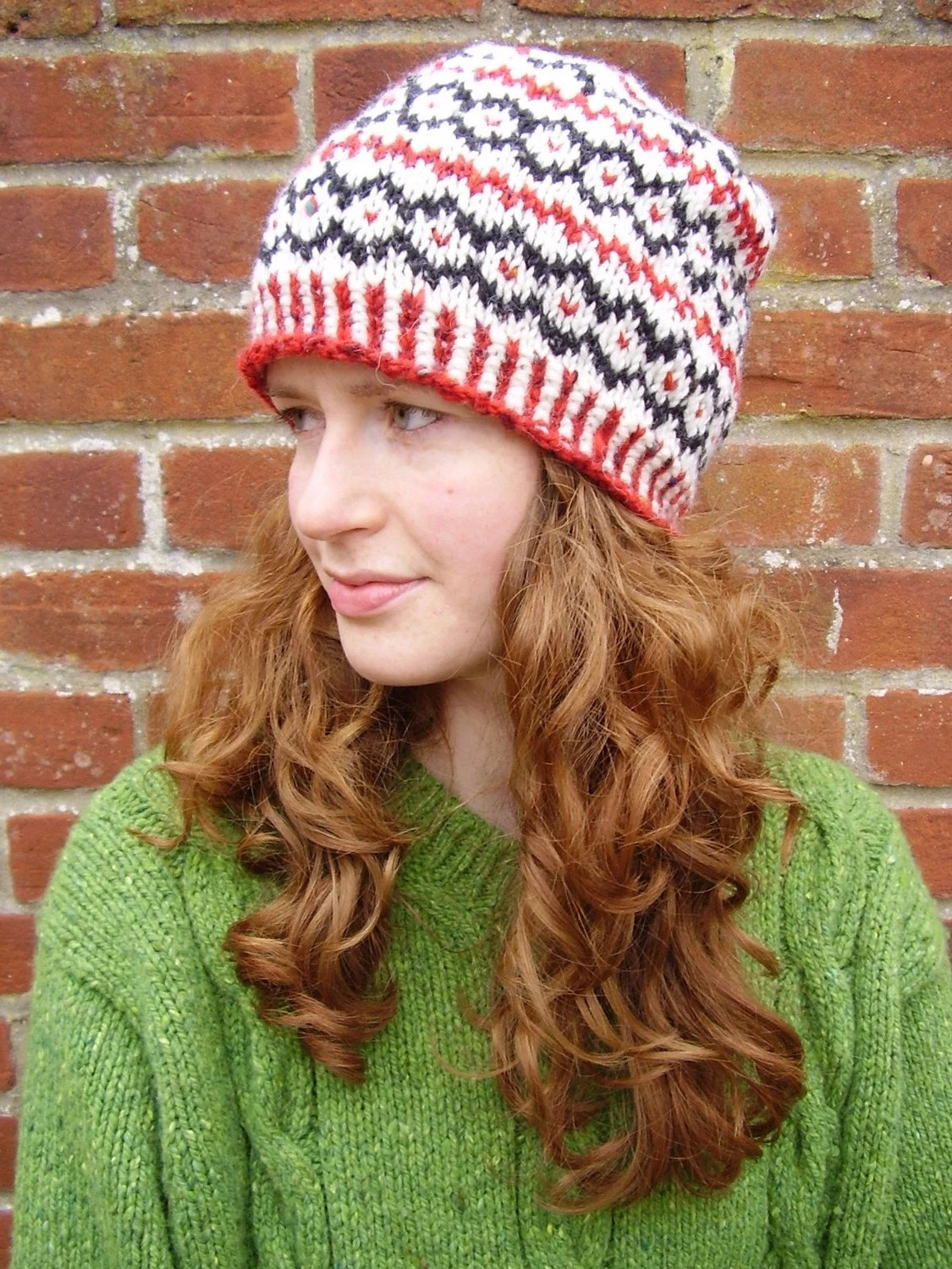 Handknit Fair Isle Donegal Aran Unisex Beanie (cream with black and scarlet red)