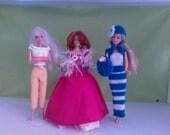 BARBIE DOLL CLOTHES  handmade dress. petticoat, shawl, trousers, top, stripe dress, bolero, bag, hat, ( 9 items) M 126 X 41