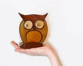 Stained Glass Candle Holder Votive Tea Light Owl Brown Amber Handmade OOAK