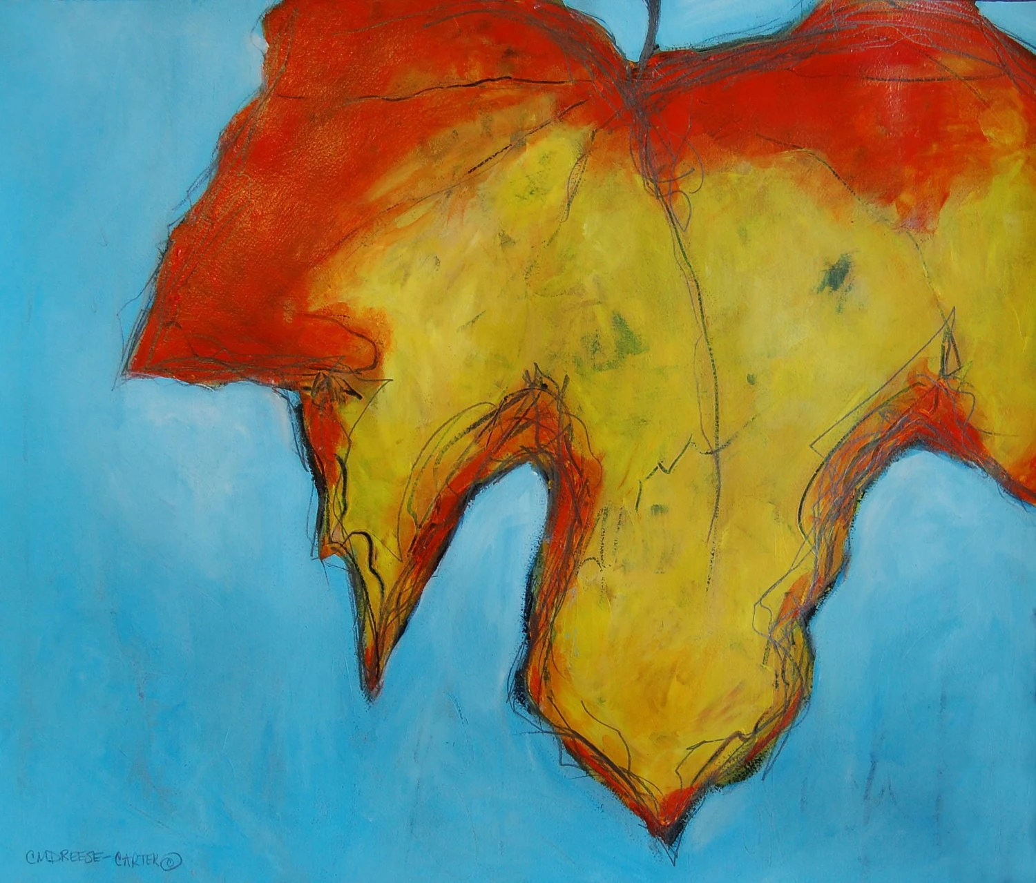 Print - 11 x 14  A Time for Change - Maple Leaf Contemporary Print from original painting by Christi Dreese