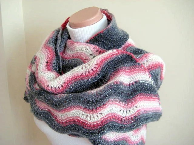 Pink, Ivory, Gray Shawl - EXPEDITED SHIPPING - Warm Shiny Triangle - Neckwarmer, Scarf, Cowl - GIFT for Her - Ready to Ship