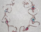 Heart Bracelet, Pink, Purple, Aqua Beads (matching earrings available)