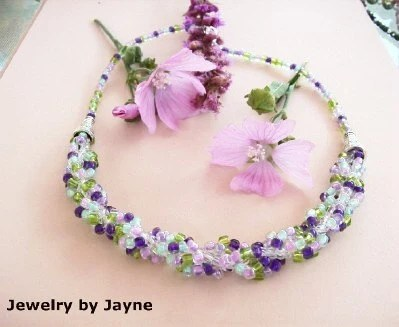 Spiral weave Necklace Multi colored Purple pink mint green
