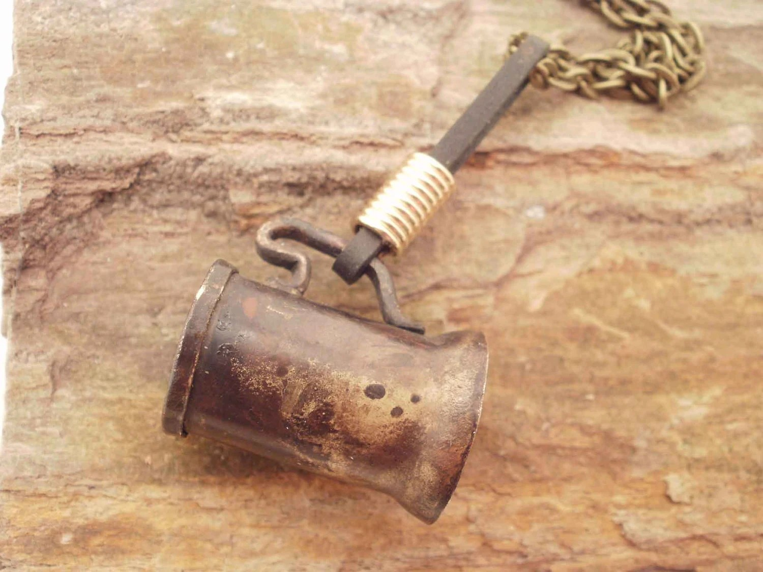 Tankard and Leather Tankard Strap - Necklace - Miniature - ShellsNStuff