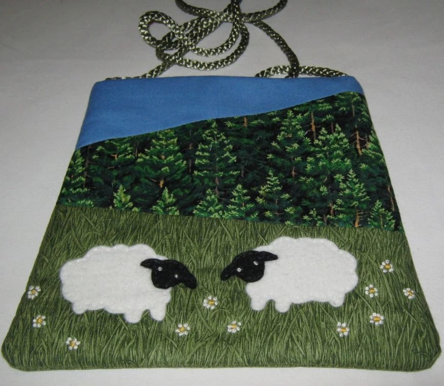 Shoulder bag in cotton depicting Lakeland scene with sheep