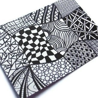 ACEO Zentangle Print, Black and White Ink Drawing