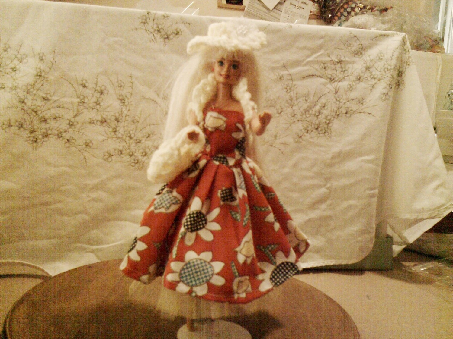 BARBIE DOLL CLOTHES- Dress,  petticoat, bolero, hat , bag,(nannycheryl original ) 882  x  80
