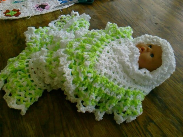 CROCHET BLANKET New handmade white shawl with deep white and Bright Green frill     762 M