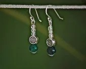 Celtic Green Earrings with Australian Jasper Stone Beads and Sterling Silver Hooks