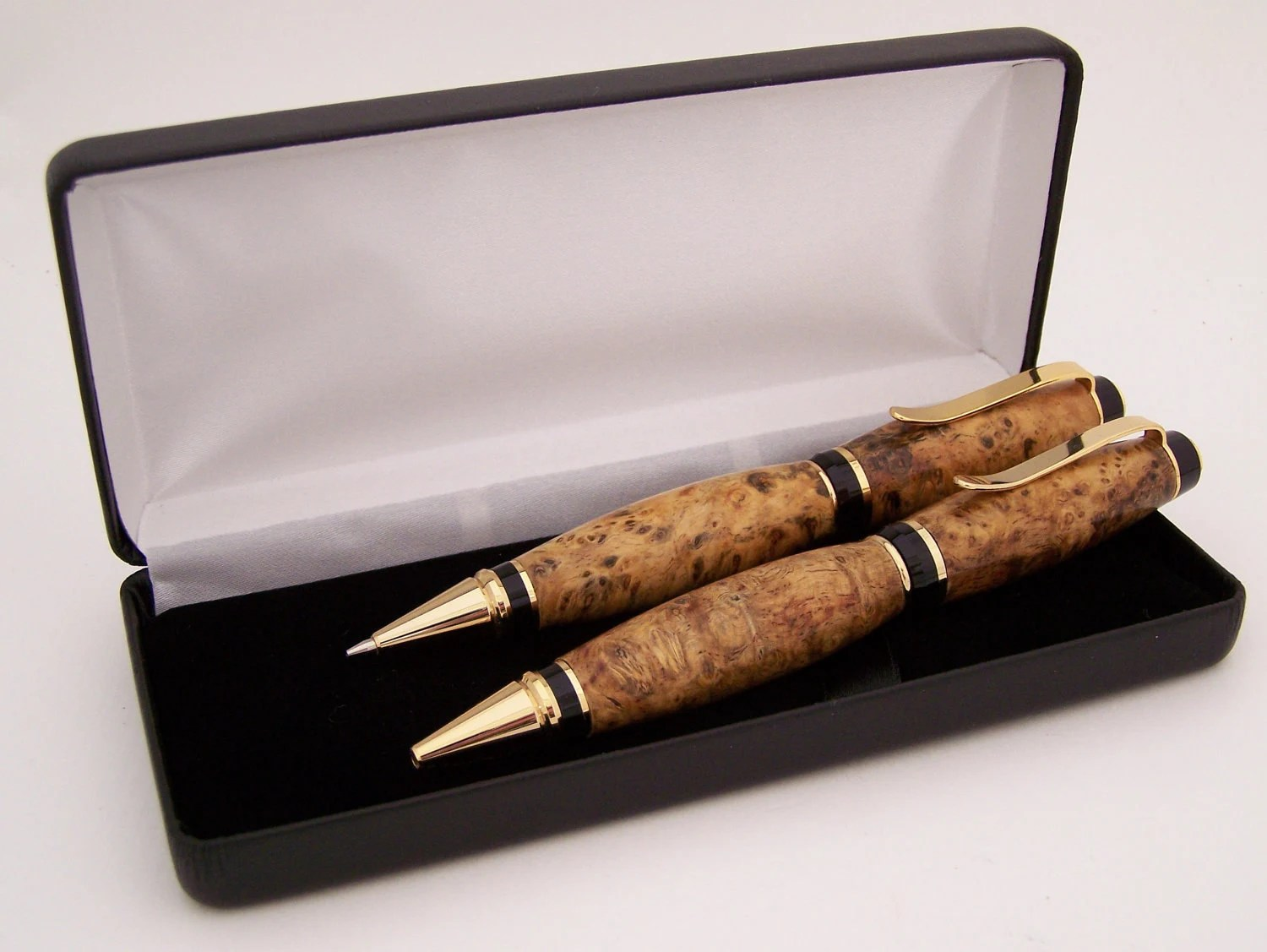 Amboyna Burl Wood Ballpoint Pen and Pencil Set (Handmade in USA) - PCwoodcraftandPens