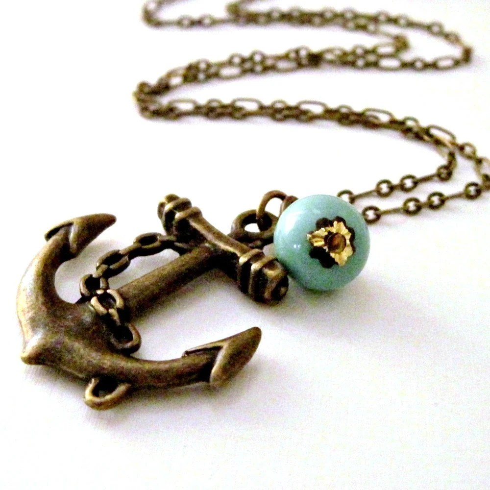Nautical Anchor Necklace Ocean Wedding Vintage Turquoise Bead Resort Charm Necklace - Sweet Anchor
