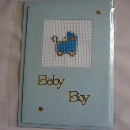 cross stitch baby boy card