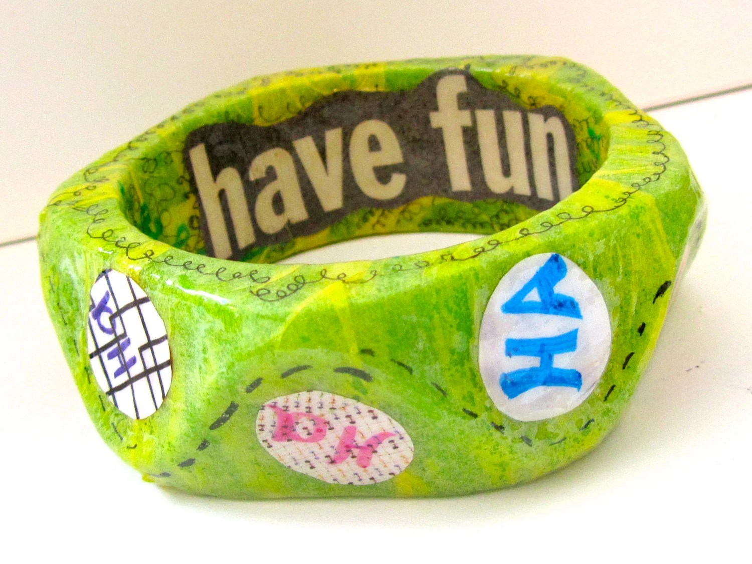 Chunky Green Bracelet - The Laughing Bangle Bracelet - Decoupage Paper Jewelry - happy, silly, Dr. Seuss
