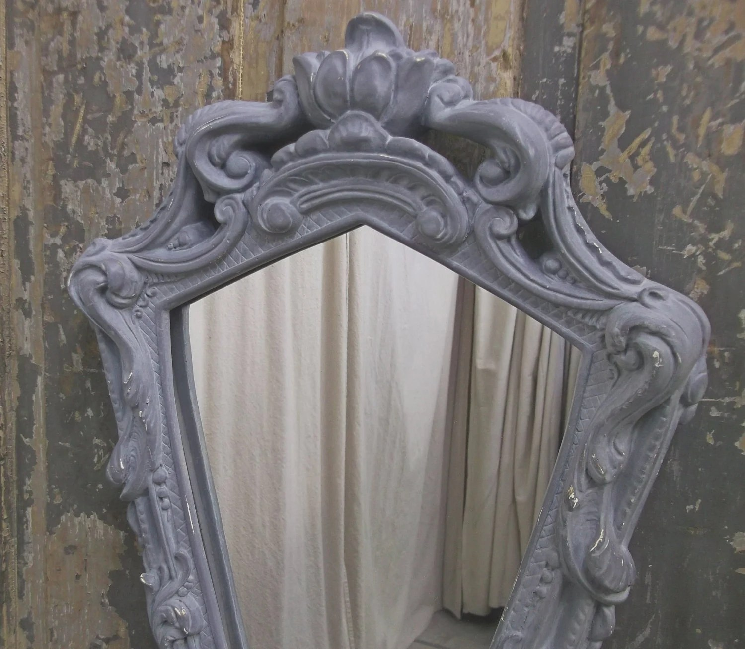 Shabby Carved Grey Shield Shaped Mirror - Chic