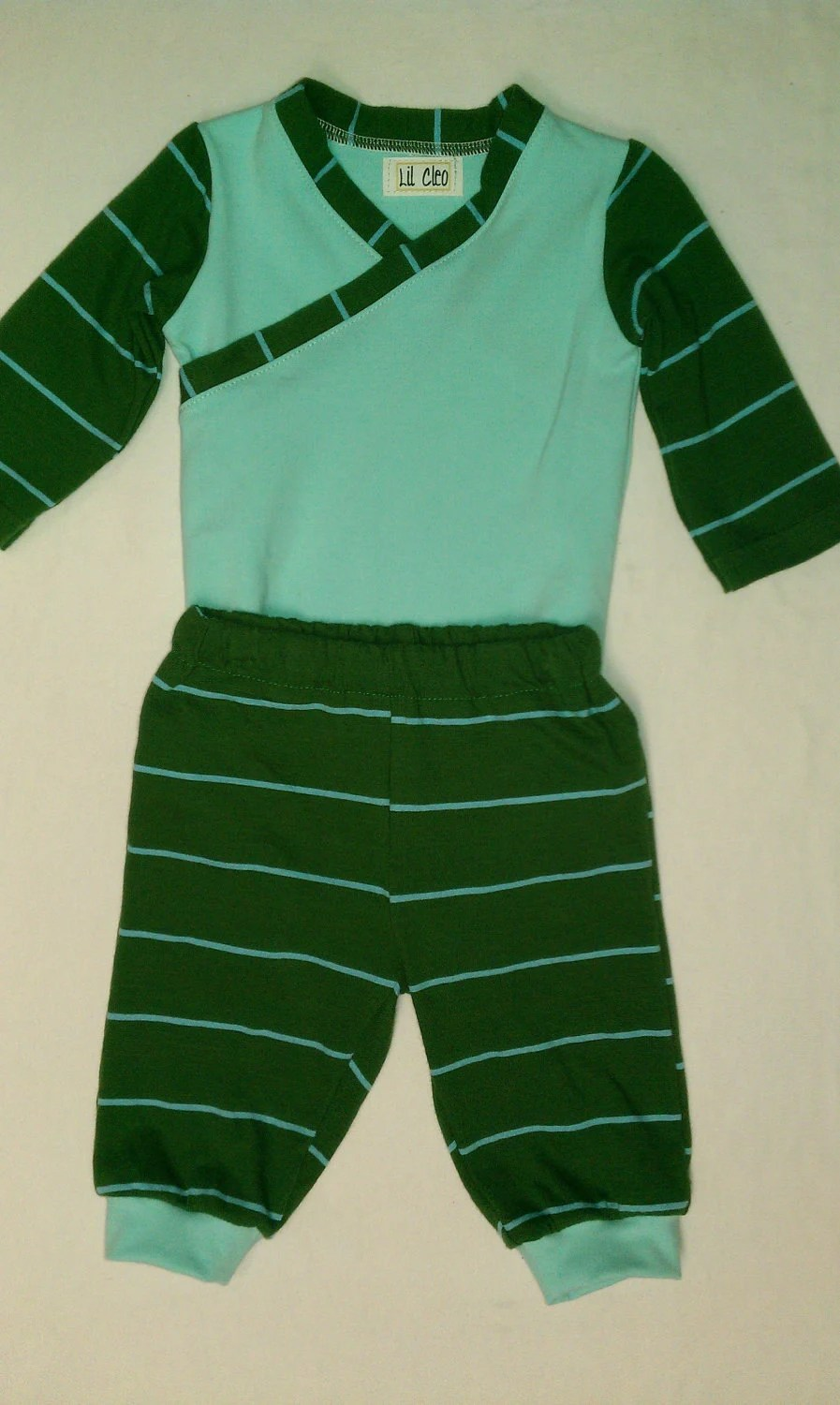 Boy OOAK upcycled bodysuit and pants green and blue striped 3 to 6 months