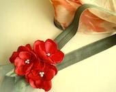 Scarlet Red Satin Garden flowers headband handmade