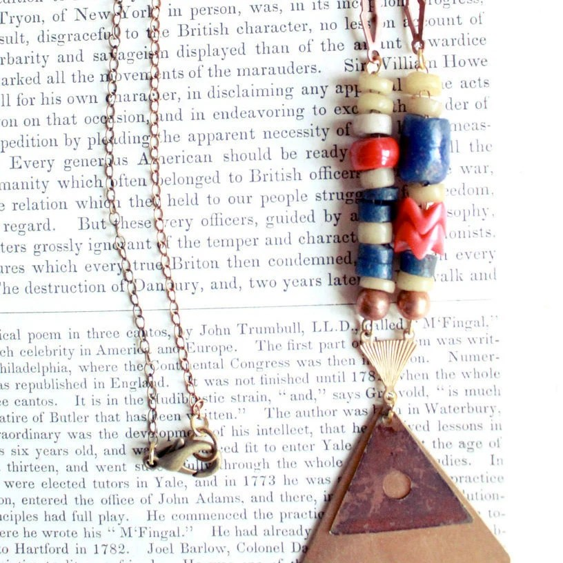 Euclid's Vision. Vintage Copper, Brass Triangles, African Snake Zula Trade Beads Necklace.
