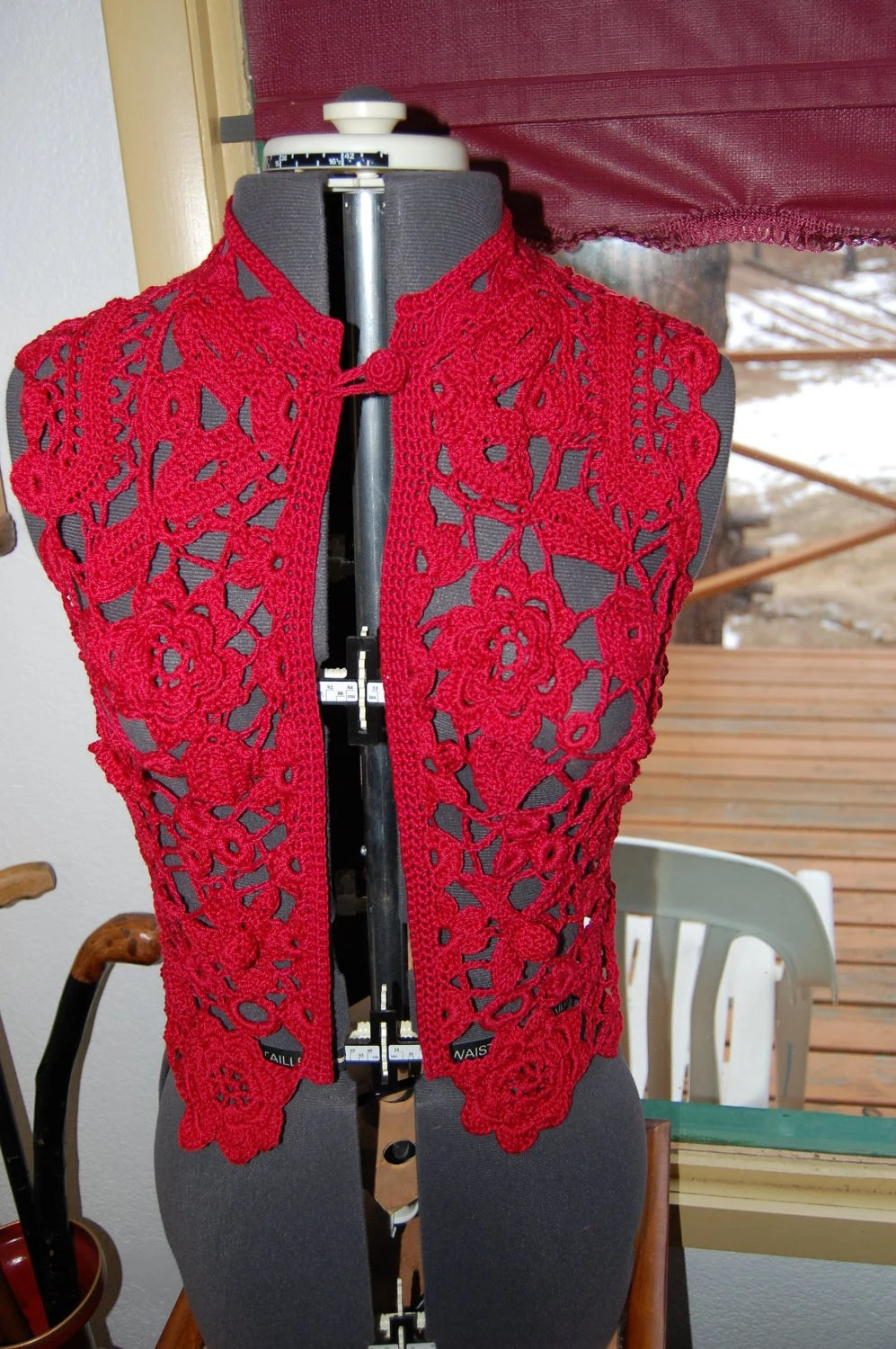 Crochet Irish Lace Vest in Scarlet