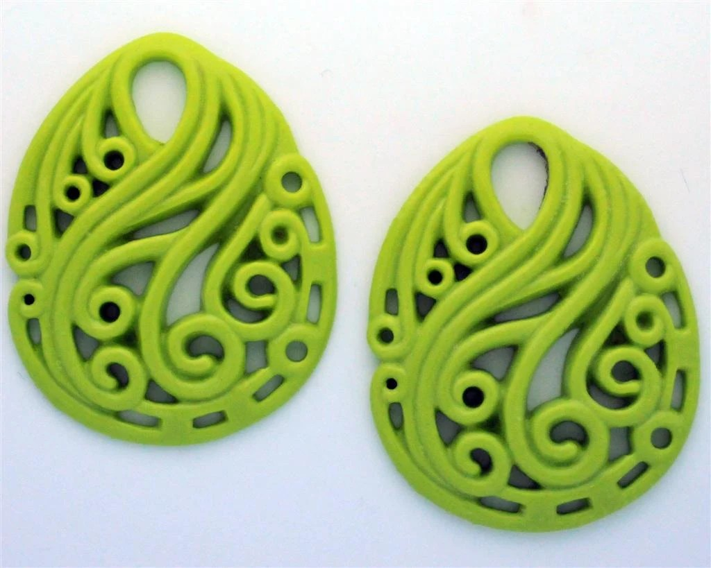 Chartruse Green Set of 2 German Oval Swirls Filigree Floral Pendant Resin for Earrings or Necklace 37mm x 46mm Powder Pink