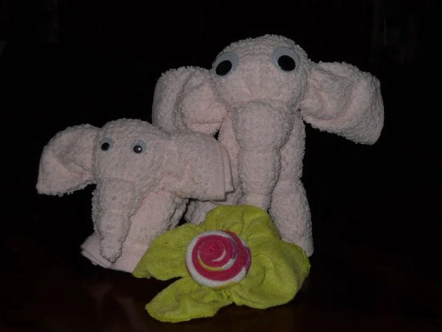 Washcloth Mommy and baby Elephant Custom Made ((100% Reusable))